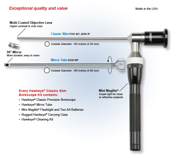 Classic Slim Rigid Endoscope Industrial Borescope Specification Overview