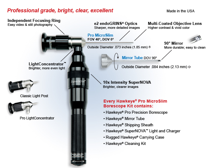 Optimax Hawkeye Pro Micro Slim Rigid Borescope (Industrial endoscope) kit overview